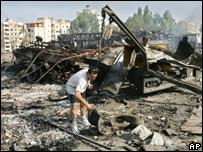 Bombardeo en Hadath Líbano
