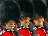 Guards in bearskin hats