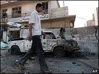 car bomb aftermath in Baghdad
