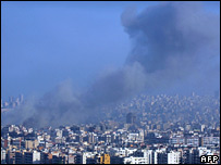 Smoke lingers over a Beirut suburb after an Israeli attack