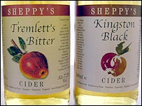 Two of Sheppy's Cider's varieties