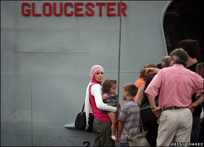 Evacuees boarding HMS Gloucester