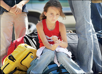 Young girl waiting to be evacuated from Beirut