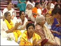 Women inside the Glasgow temple