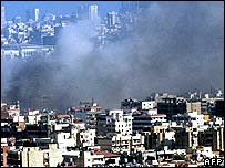 Black smoke rises following an Israeli air strike on the southern suburbs of Beirut