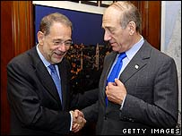 Israeli Prime Minister Ehud Olmert meets EU foreign policy chief Javier Solana
