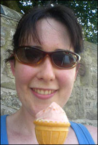 Catryn cools down with an ice cream