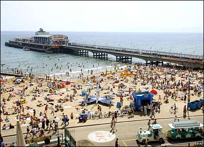 Bournemouth beach, crowded on Wednesday