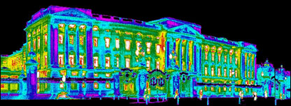 Infra-red thermal image of Buckingham Palace (IRT Survey)