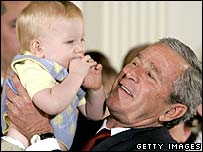 President Bush at the White House after vetoing the legislation