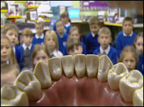 School pupils being taught about dental care