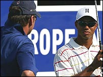 Nick Faldo and Tiger Woods