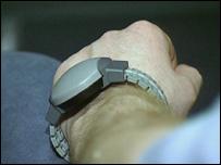 A tag on a wrist
