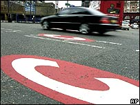 Congestion charge sign on a London road