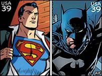 Superman and Batman stamps