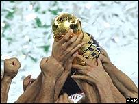 Italian players celebrate winning the football World Cup
