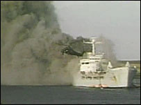 RFA Sir Galahad being attacked in Bluff Cove