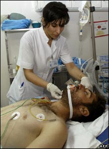 A wounded Lebanese man in southern Lebanese city of Sidon