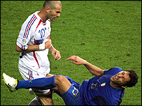 France's Zinedine Zidane head-butts Marco Materazzi during the World Cup final