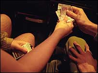 Man handing money to a prostitute