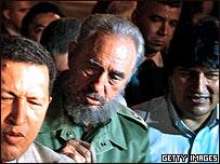 Los presidentes de Venezuela, Cuba  y Bolivia, Hugo Chávez, Fidel Castro y Evo Morales