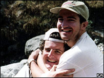 Michael Matthews (right) and friend Jamie Everett in the foothills of Everest