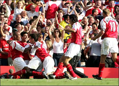 Arsenal celebrate their comeback against Middlesbrough