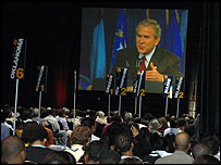 George W Bush addresses the NAACP annual conference in Washington DC