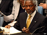 Kofi Annan addressing the UN Security Council