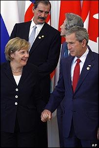 Angela Merkel and George Bush at the G8 summit