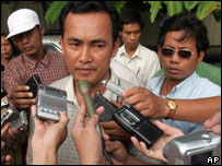 Morm Mol, 33, a nephew of ex-Khmer Rouge leader Ta Mok, speaks to reporters
