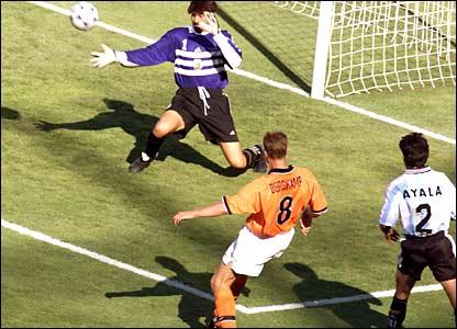 Dennis Bergkamp scores the winner for Holland against Argentina at France 98