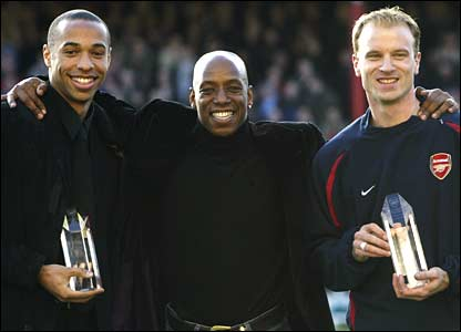 Arsenal striking legends Thierry Henry, Ian Wright and Dennis Bergkamp