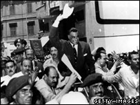 Gamal Abdel Nasser arrives back in Cairo following announcement he has nationalised the Suez Canal