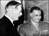 British Prime Minister Anthony Eden and Egyptian President Gamal Abdel Nasser in Cairo, 1955