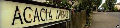 Acacia Ave street sign