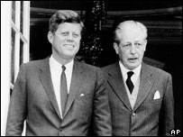 John F Kennedy and Harold Macmillan in England, 1963