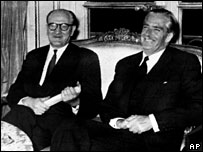 Guy Mollet and Sir Anthony Eden, October 1956, Paris