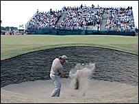 Miguel Angel Jimenez negotiates a bunker at Hoylake's sixth