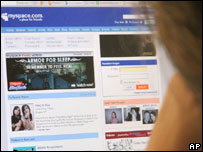 User looking at MySpace homepage (Nicholas Kamm/AFP/Getty Images)