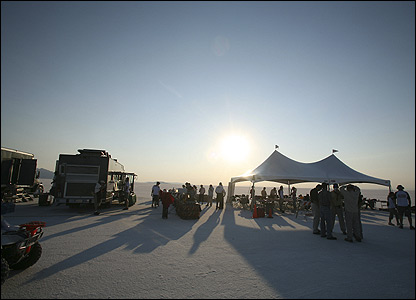 Honda's camp at Bonneville Salt Flats in Utah, USA