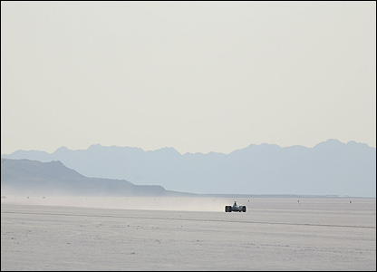 Honda's F1 car can been seen against the wide open spaces of the Bonnevile Salt Flats in Utah