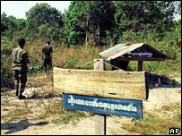 Pol Pot's grave in Anlong Veng, in a 2001 photo