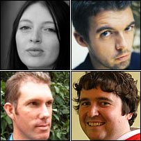 Clockwise from top left - Rachel Tresize, Nick Laird, Mathew David Scott and Ian Holding
