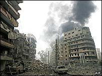 Bombed suburb of southern Beirut