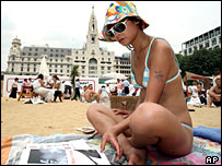 Woman at City Beach in London