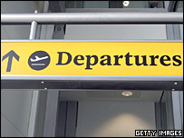 Departures sign at Heathrow Airport