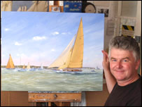 Robert with one of his paintings