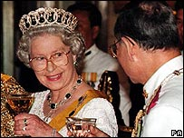 King Bhumibol with Queen Elizabeth II