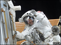 Astronaut waves on an EVA